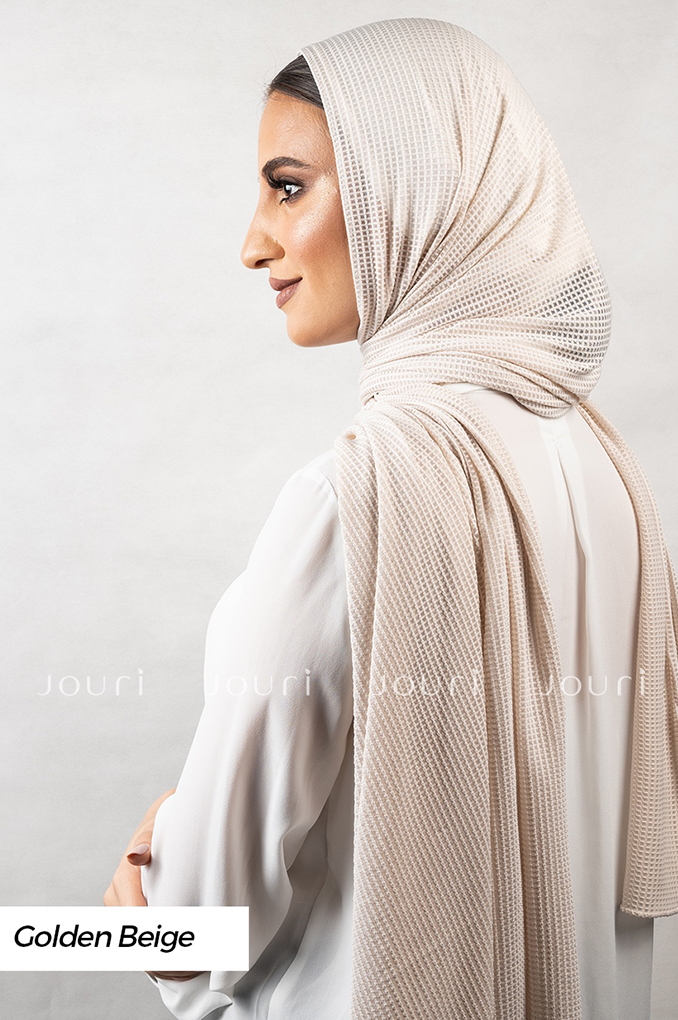 Golden Beige Plain Polyester Jacquard Shawl