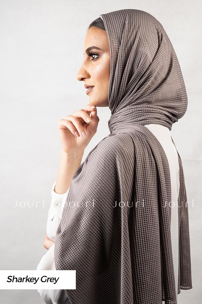 Dark Grey Plain Polyester Jacquard Shawl