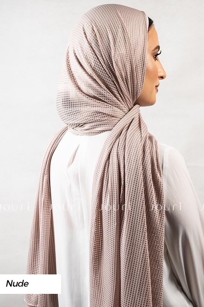 Nude Plain Polyester Jacquard Shawl