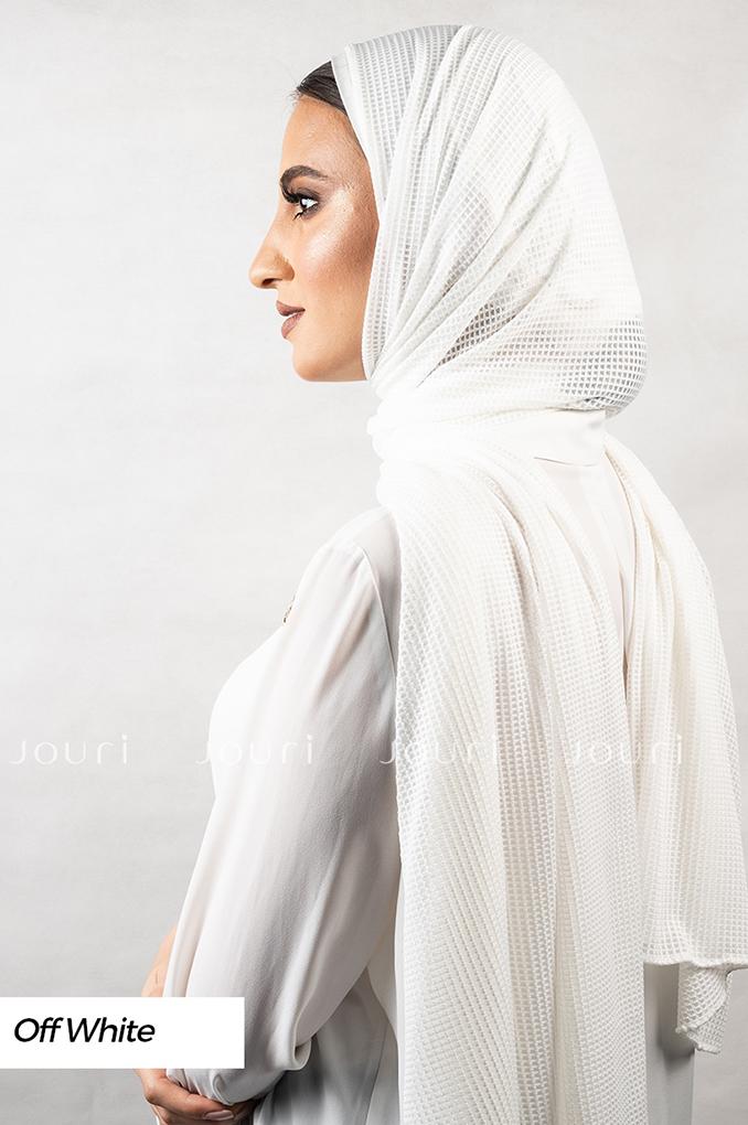 Off White Plain Polyester Jacquard Shawl
