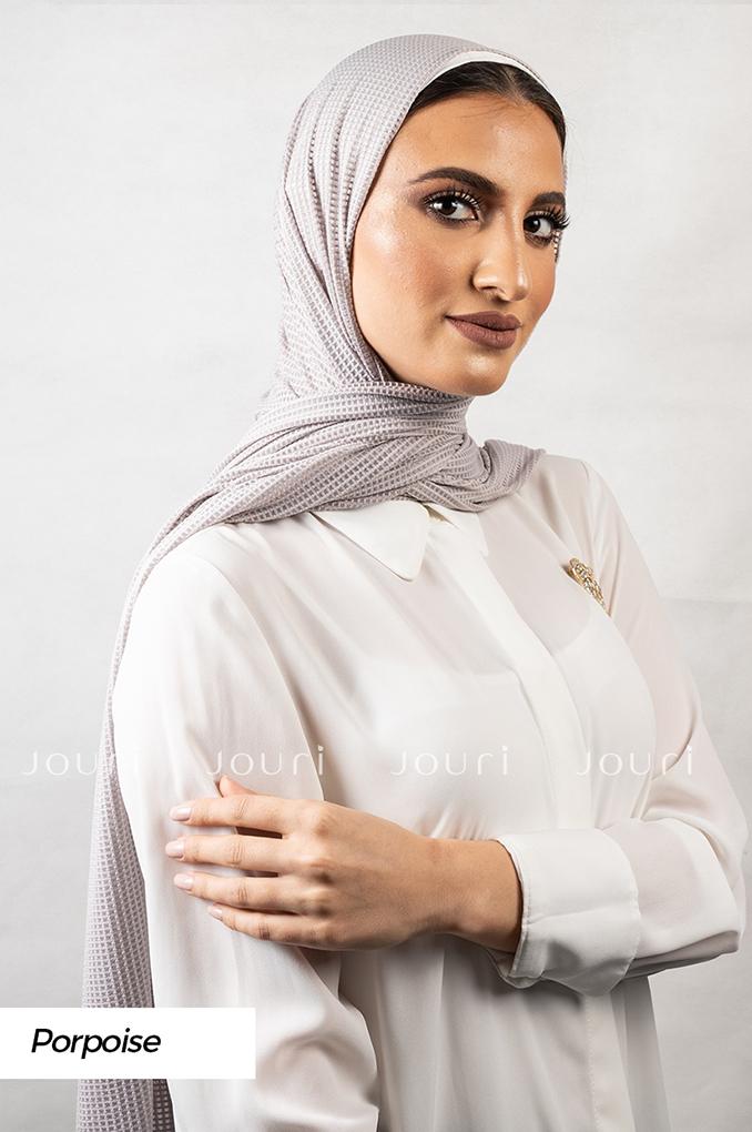 Light Grey Plain Polyester Jacquard Shawl