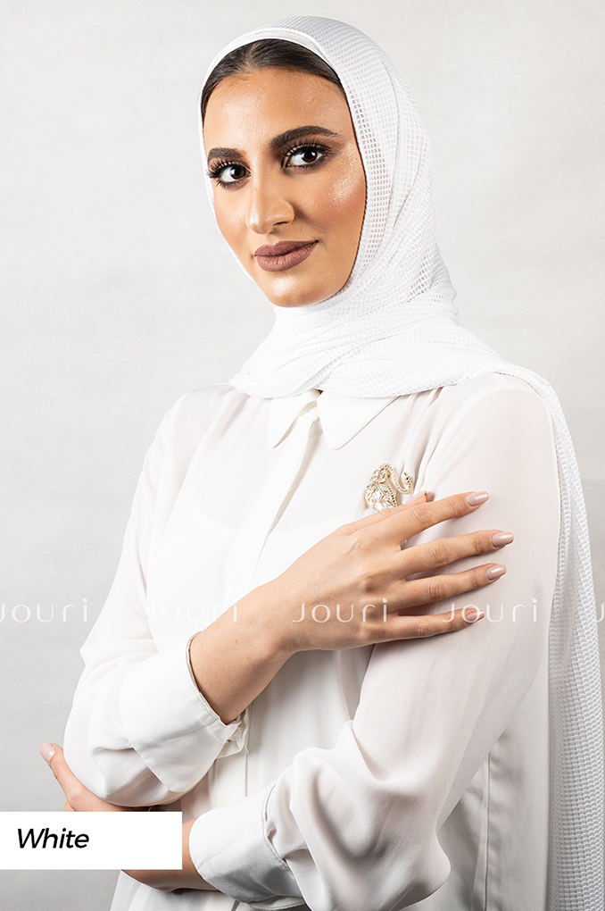 White Plain Polyester Jacquard Shawl