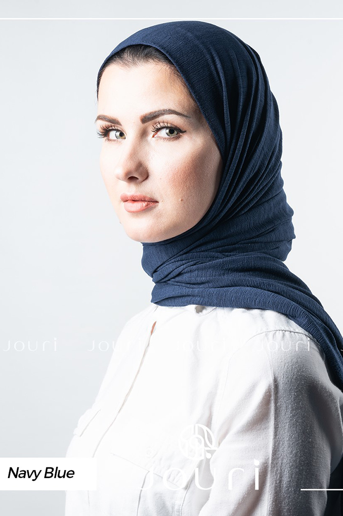 Navy Blue Plain Polyester Shawl