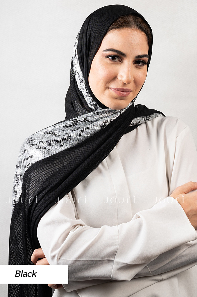 Black stylish sequins sequinned Polyester Shawl