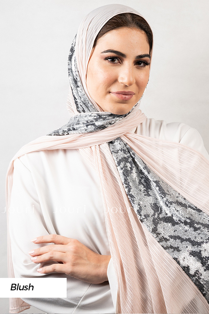 Blush Stylish sequins sequinned Polyester Shawl