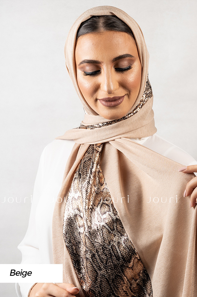 Beige Plain Polyester Shawl
