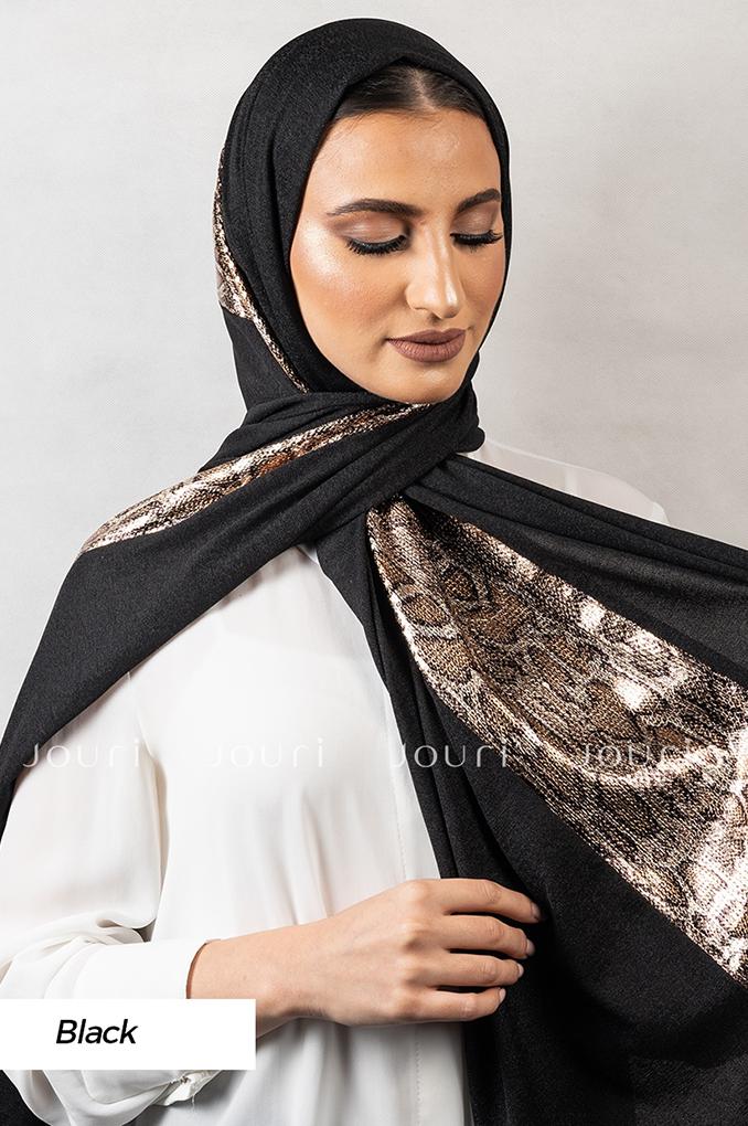 Black Plain Polyester Shawl