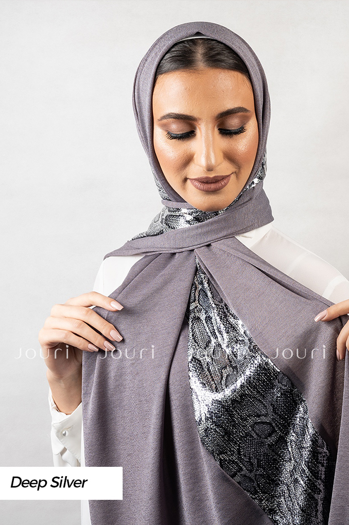 Deep Silver Plain Polyester Shawl
