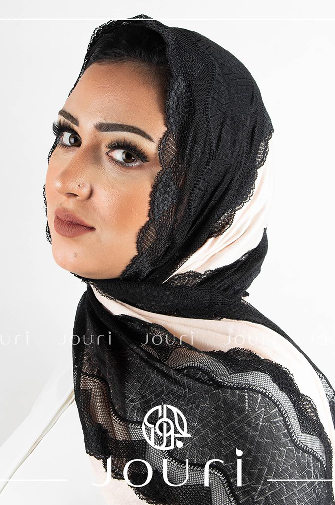 Buff Black Plain Cotton with Dantel Shawl