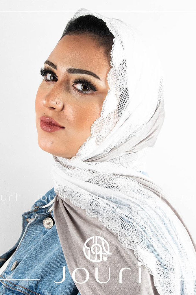 Escarpment White Plain Cotton with Dantel Shawl