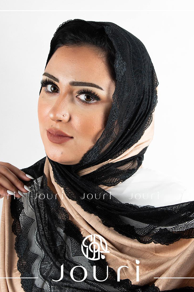 Gold Black Plain Cotton with Dantel Shawl