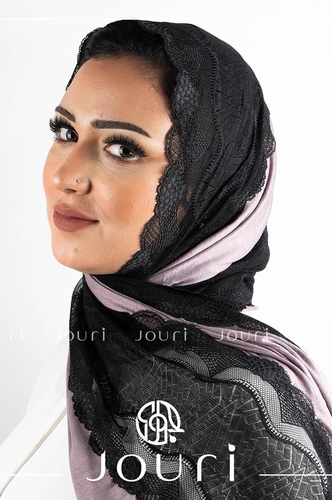 Light Purple Black Plain Cotton with Dantel Shawl