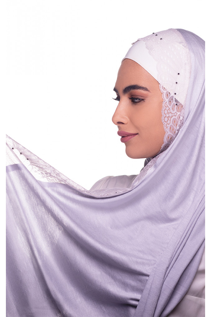 Grey plain Shawl made from Dental and Cotton