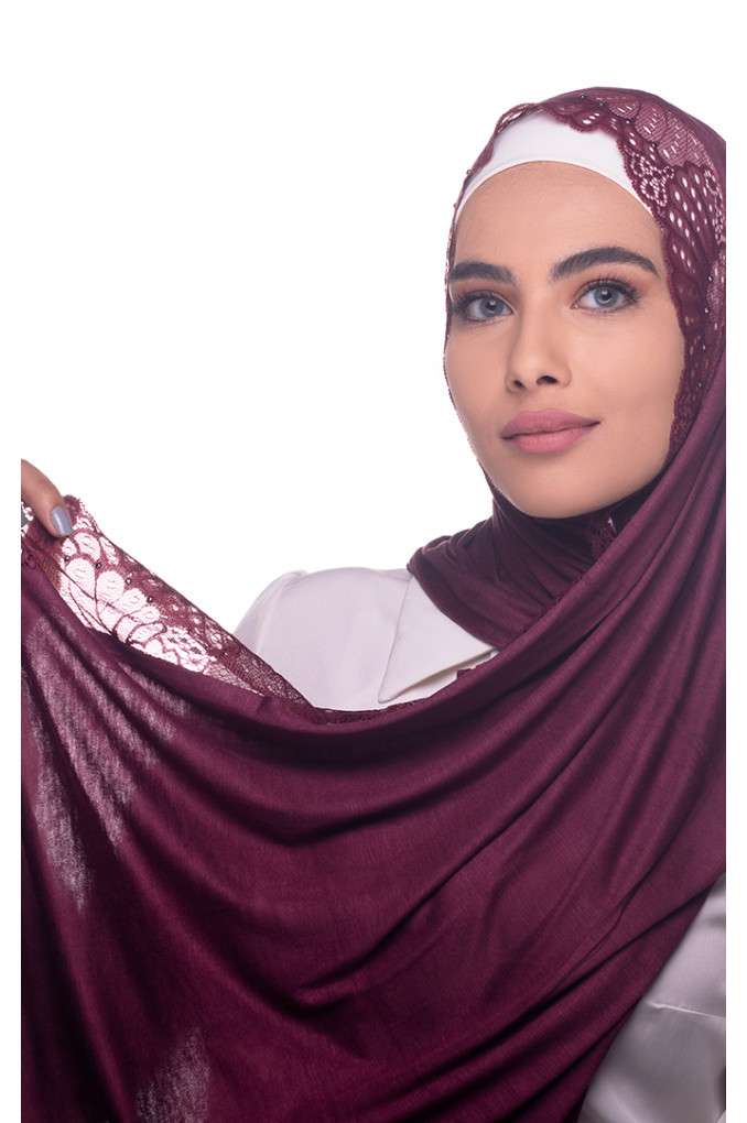 Maroon plain Shawl made from Dental and Cotton