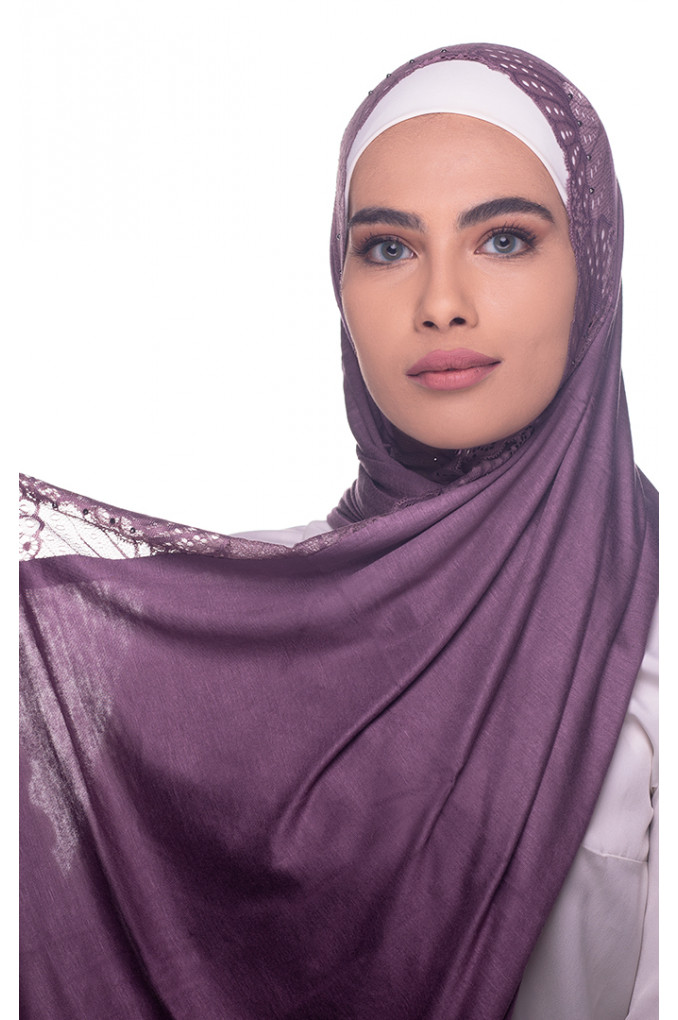 Purple plain Shawl made from Dental and Cotton