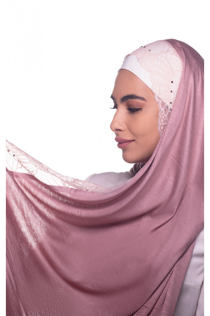Pink plain Shawl made from Dental and Cotton