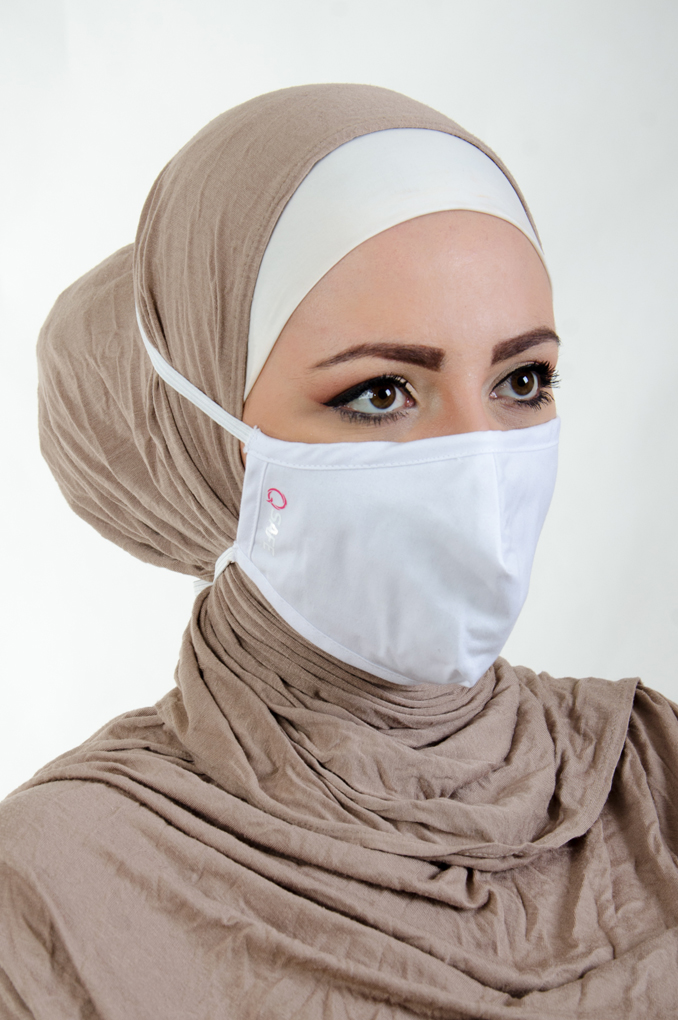 White Medical Fabric Facemask