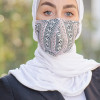 White, Black and Maroon patterned Fabric Face mask