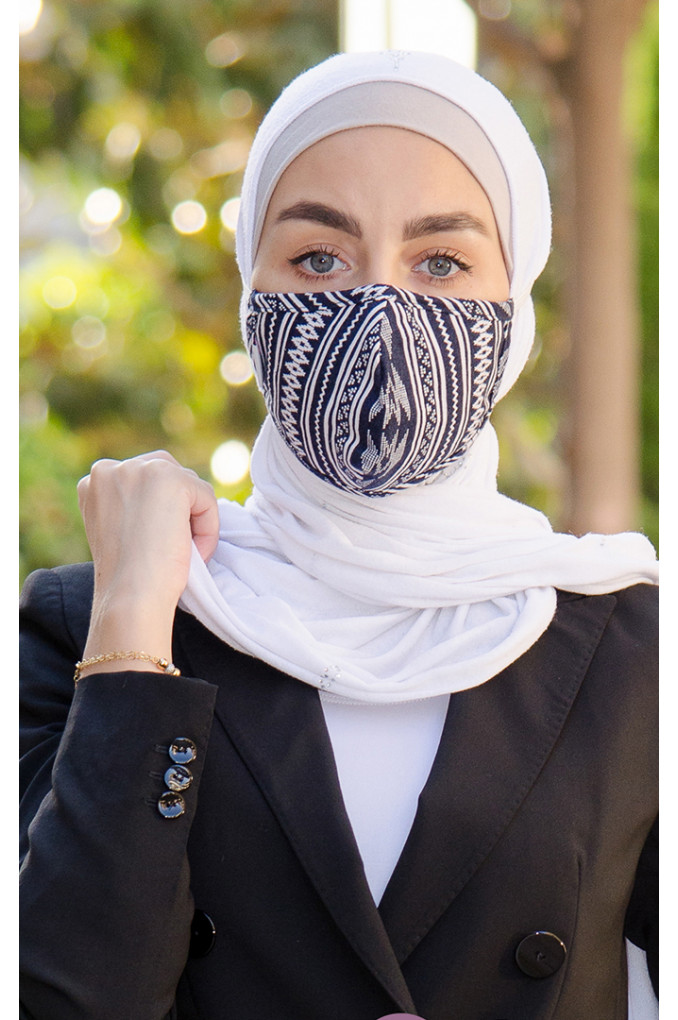 Navy Blue and White patterned Fabric Face mask
