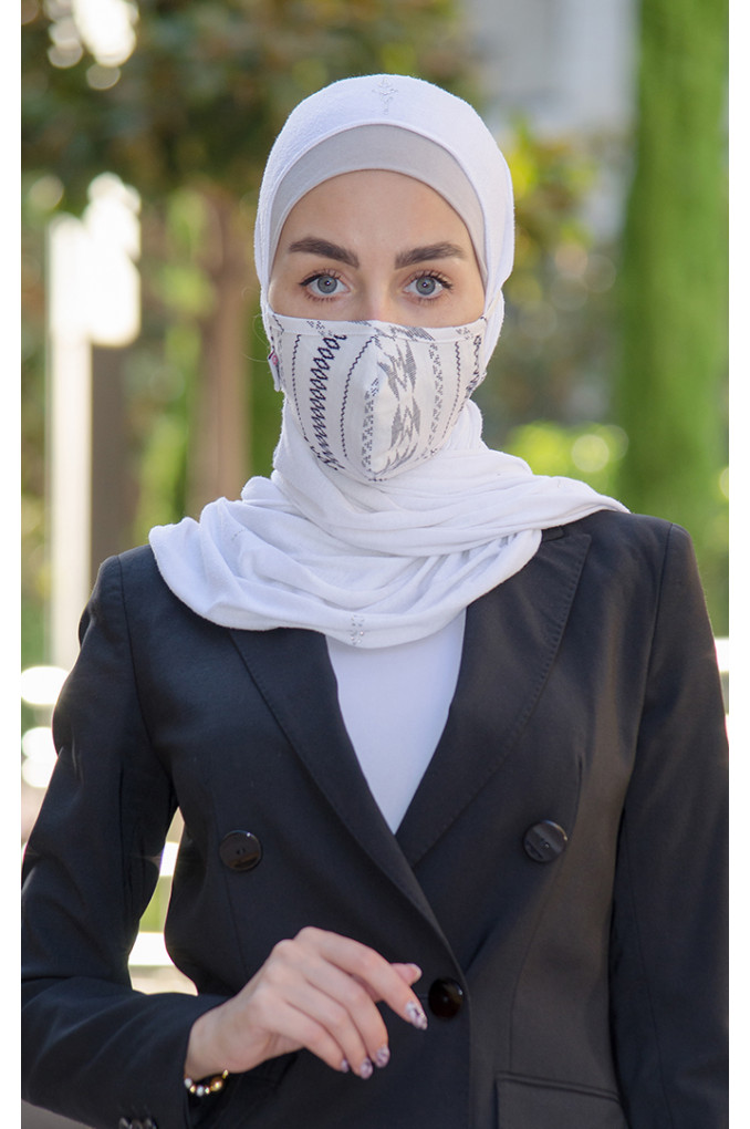 White and Black patterned Fabric Face mask