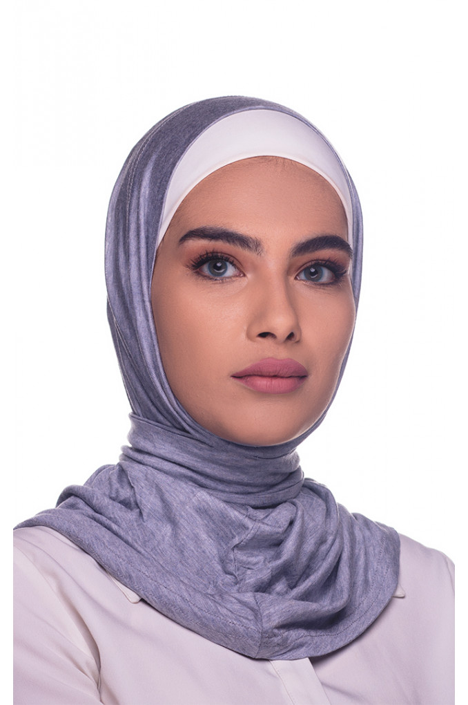 Grey Amira Hijab made from Cotton has a clips to close