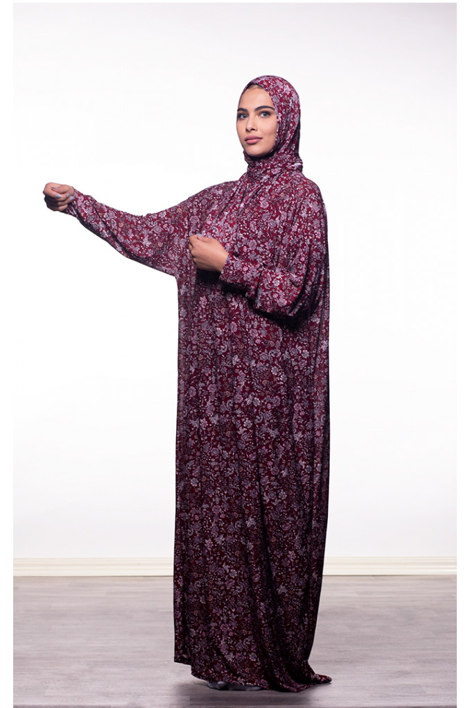 Long patterned Maroon Prayer