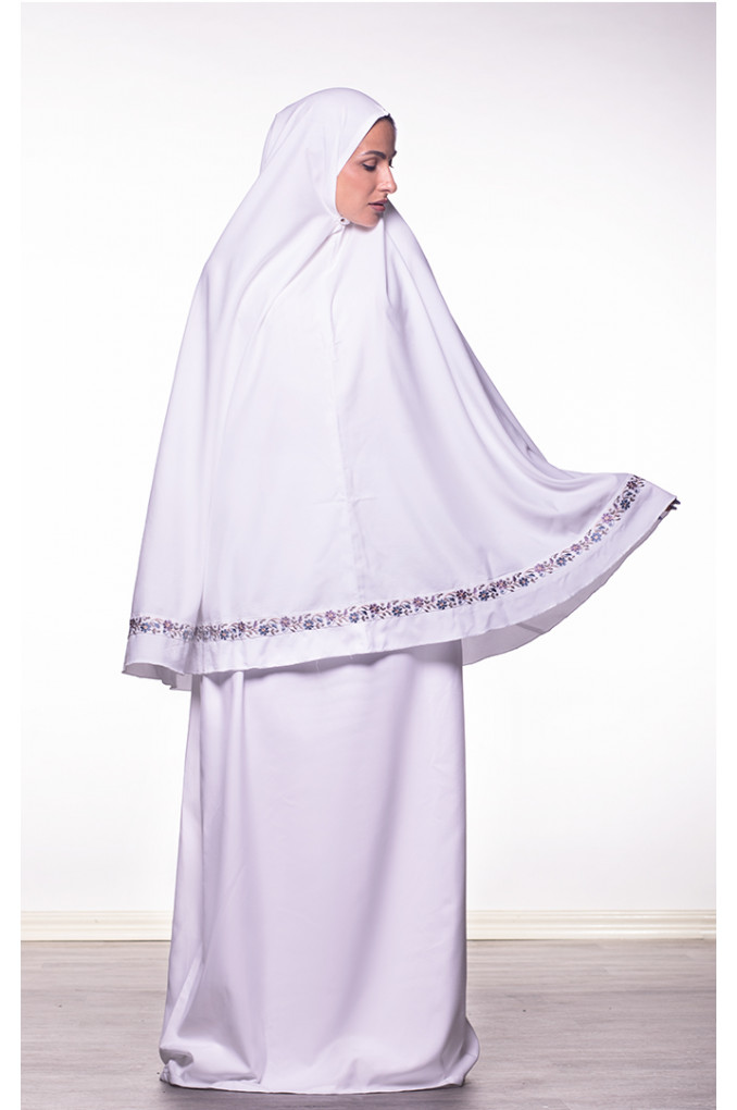 White Prayer set with Purple embroidery