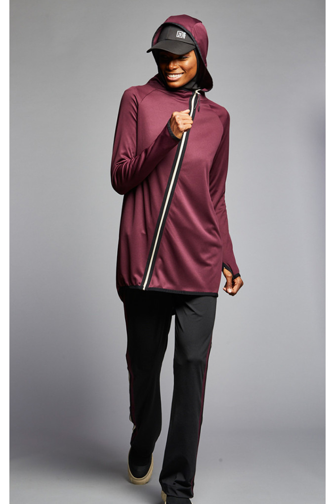 Black and Maroon Full women sport suit