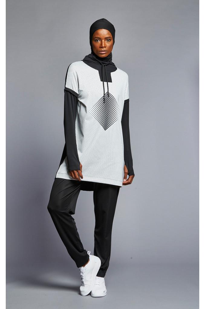 Black and White Full women sport suit