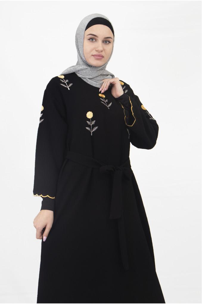 Wide Sleeves Black Casual Abaya