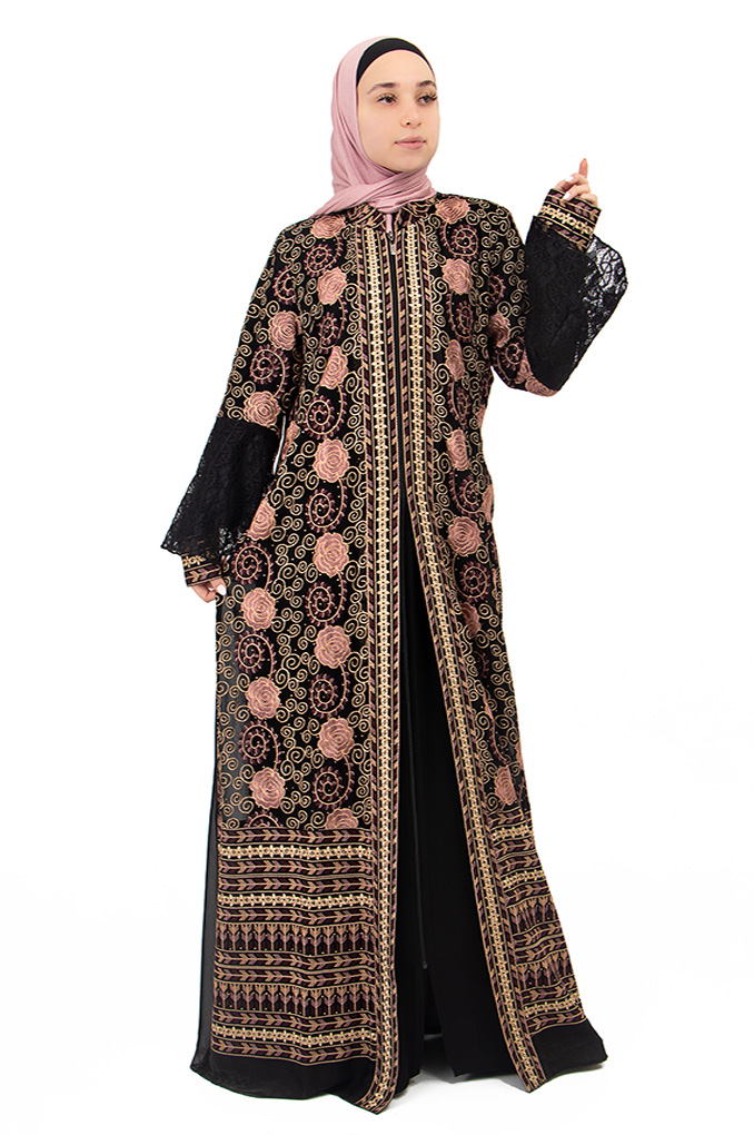 Formal Black  Embroidered Abaya