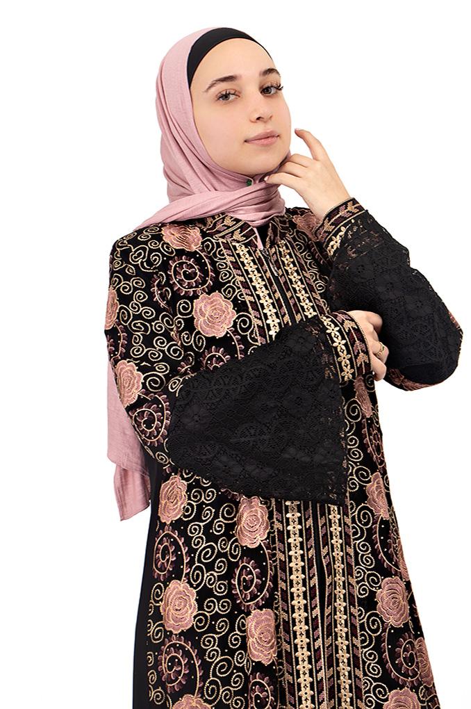Formal Black  Embroidered Abaya