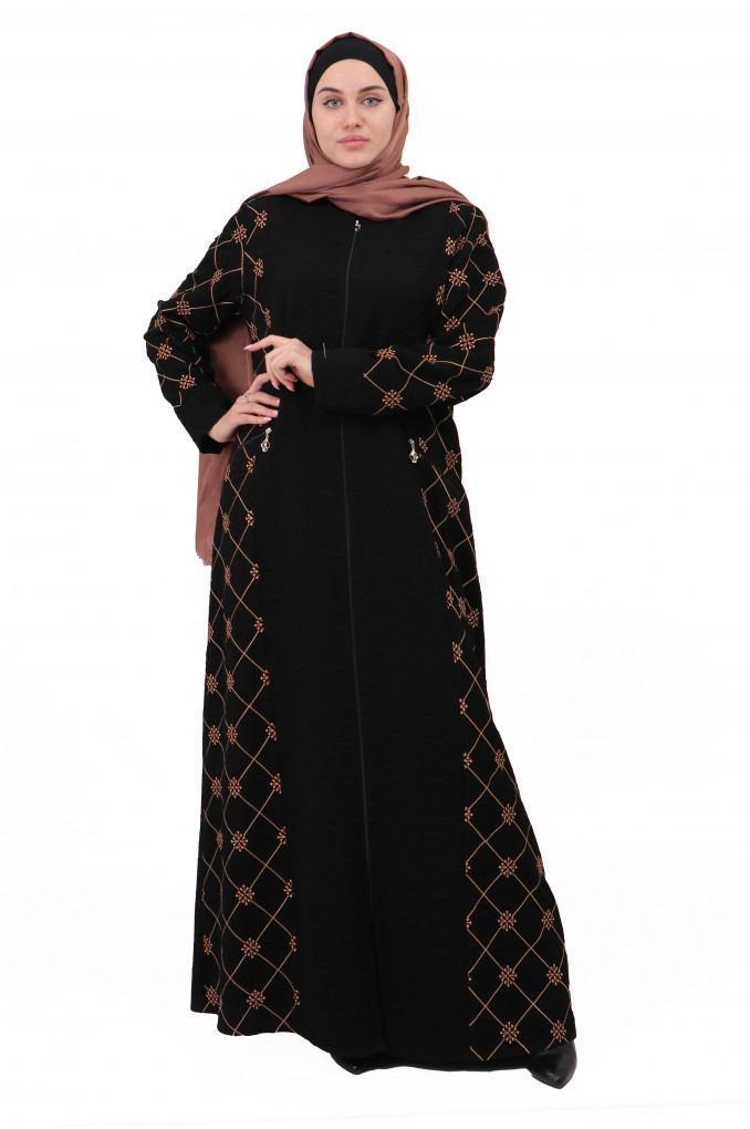 Elegant Black Abaya with Flora Embroidery