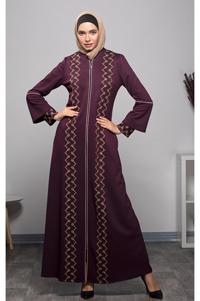 Formal Winter Abaya With Embroidery
