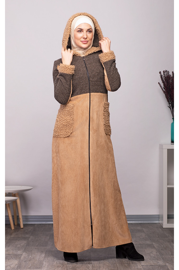 Multi-Colored Casual Winter Corduroy and knitwear Abaya