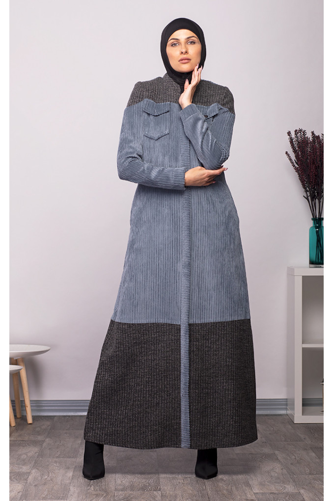 Casual Multi-Colored Winter Corduroy and knitwear Abaya