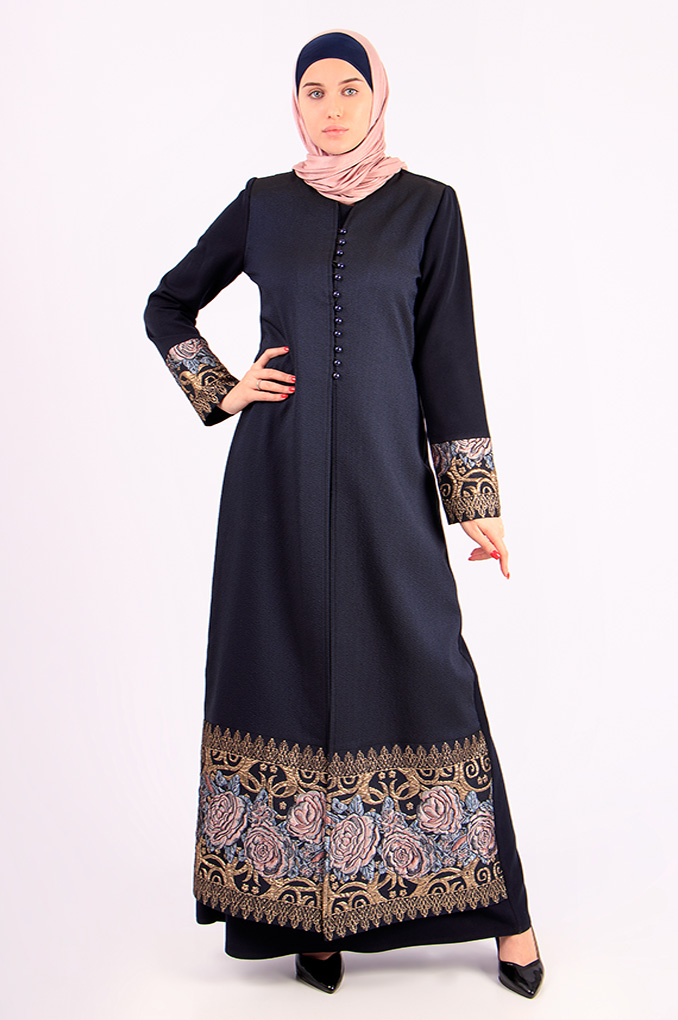 Formal winter Dark blue color Abaya