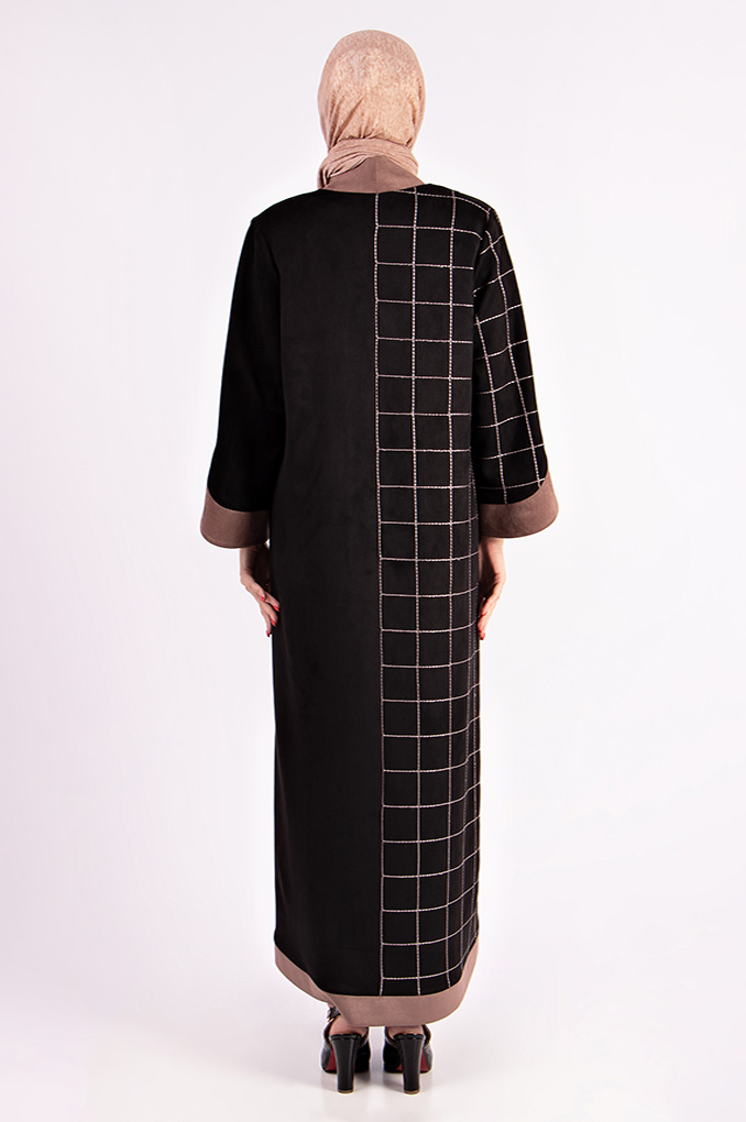 Semi Formal Winter Abaya With Batterned Embroidery