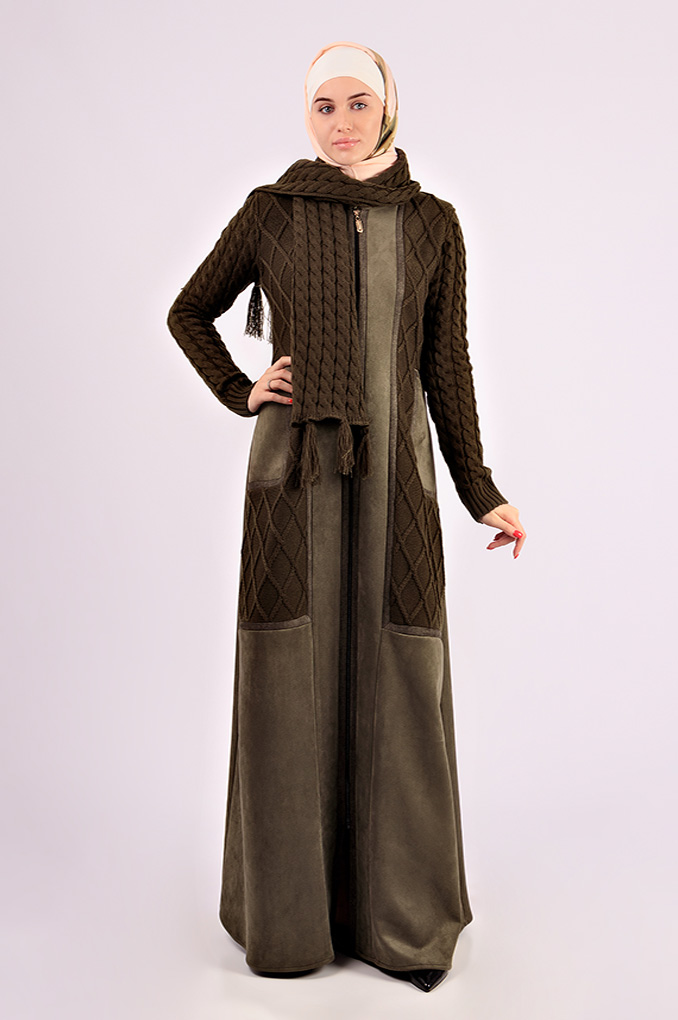 Casual Multi-Colored Winter Suede and knitwear Abaya